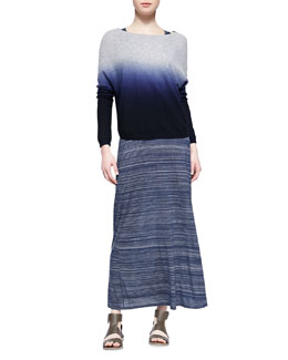 Vince Ombre Long-Sleeve Knit Sweater & Slub Racerback Maxi Dress