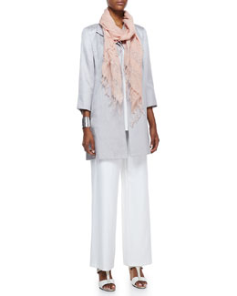 Eileen Fisher Floating Shimmer Coat, Long Silk Jersey Tunic, Sequined Striped Scarf & Boot-Cut Pants