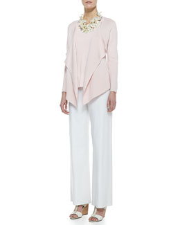 Eileen Fisher Silk-Cotton Interlock Jacket, Silk Jersey Tank & Modern Wide-Leg Pants, Women's