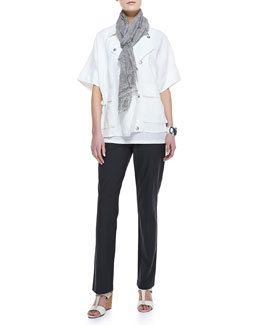 Eileen Fisher Organic Linen Short-Sleeve Jacket, Jersey Shimmer Tank, Washable-Crepe Boot-Cut Pants & Tinted Encrusted Sparkle Scarf, Women's