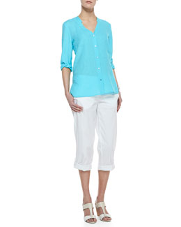 Eileen Fisher Handkerchief Linen V-Neck Shirt & Cuffed Twill Capri Pants, Petite