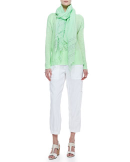 Eileen Fisher Linen-Blend Bateau Top, Sequined Striped Scarf & Cargo Linen-Blend Ankle Pants, Women's