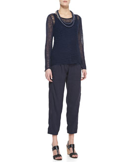 Eileen Fisher Organic Linen Wavy-Stitch Top, Long Slim Tank, Mini Striped Beaded Necklace & Linen-Blend Ankle Pants