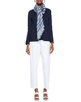 Eileen Fisher Handkerchief Linen 2-Button Jacket, Organic-Cotton Long Slim Tank, Twill Slim Ankle Pants & Nomadic Multi-Stripe Scarf, Women's