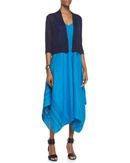 Eileen Fisher 3/4-Sleeve Cropped Cardigan & Sleeveless V-Neck Asymmetric Linen Dress, Women's