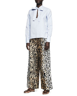 Valentino Tie-Front Cotton Blouse and Leopard-Print Full-Leg Ankle Pants