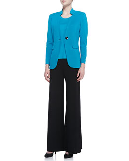 Misook Jersey One-Button Jacket & Scoop-Neck Sleeveless Tank Top & Fit & Knit Palazzo Wide-Leg Pants