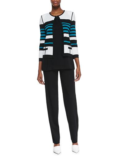 Misook Stripe-Detail Open-Front Jacket, Amy Scoop-Neck Tank & Boot-Cut Pants