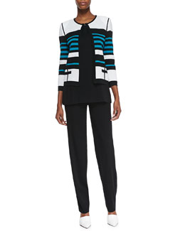 Misook Stripe-Detail Open-Front Jacket, Amy Scoop-Neck Tank & Boot-Cut Pants, Petite