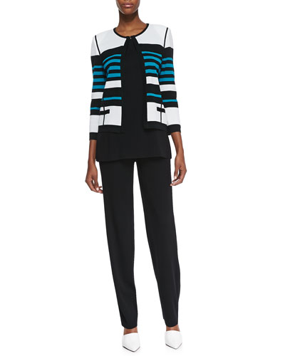 Misook Stripe-Detail Open-Front Jacket, Amy Scoop-Neck Tank & Boot-Cut Pants, Women's