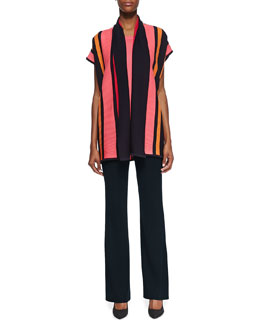 Misook Striped Ribbed Short-Sleeve Jacket, Sleeveless Knit Tank & Classic Boot-Cut Pants