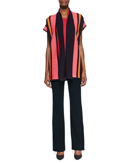 Misook Striped Ribbed Short-Sleeve Jacket, Sleeveless Knit Tank & Classic Boot-Cut Pants, Petite