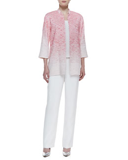 Caroline Rose Long Textured Ombre Jacket, Long Crepe Tank & Silk Crepe Straight-Leg Pants