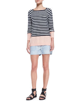 Vince Colorblock Striped Sweater and Chambray Pocket Shorts