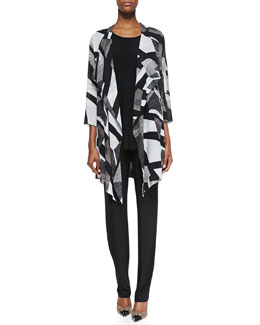 Caroline Rose Fragmented Draped Long Jacket, Sleeveless Knit Tunic & Stretch Knit Slim Pants