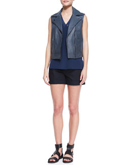 Vince Embossed Leather Moto Vest, Sleeveless Silk V-Neck Top & Slim Cargo Shorts