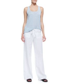 Vince Scoop-Neck Racerback Tank & Linen Beach Pants