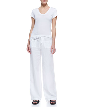 Cotton Short-Sleeve V-Neck Tee & Drawstring Linen Beach Pants