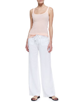 Vince Favorite Solid Tank in Grapefruit & Linen Beach Pants