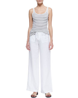 Vince Favorite Striped Tank and Linen Beach Pants