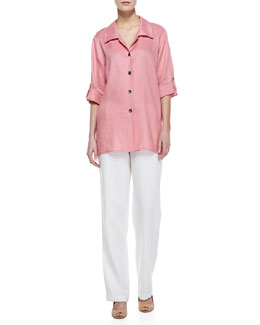 Caroline Rose Long Linen Tabbed Shirt & Straight-Leg Linen Pants, Petite
