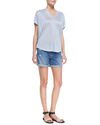 Shimmery V-Neck Slub Tee & Distressed Denim Cuffed Boyfriend Shorts