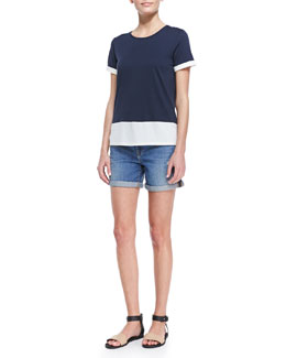 Vince Short-Sleeve Colorblock T-Shirt & Distressed Denim Cuffed Boyfriend Shorts
