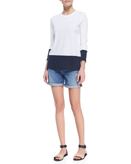 Vince Colorblock Crewneck Soft Slub Tee & Distressed Denim Cuffed Boyfriend Shorts