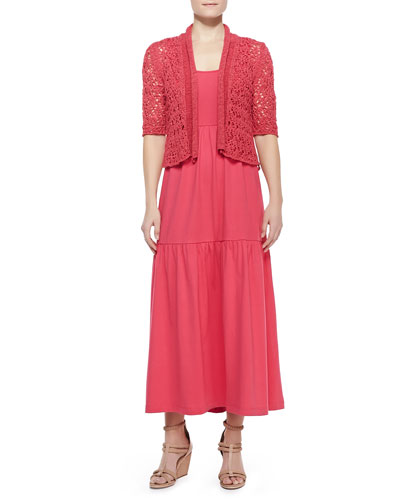 Joan Vass Tape-Yarn Knit Cardigan & Tiered Long Tank Dress, Petite
