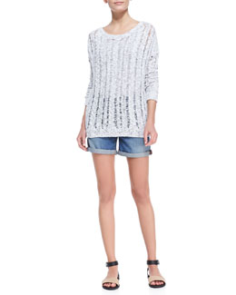 Vince Cable-Knit/Open-Stitch Sweater & Distressed Denim Cuffed Boyfriend Shorts