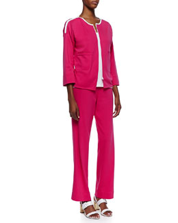 Joan Vass Contrast-Trim Zip-Front Jacket, Jersey Grommet-Detail Tank Top & Interlock-Knit Full-Length Pants