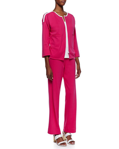 Joan Vass Contrast-Trim Zip-Front Jacket, Jersey Grommet-Detail Tank Top & Interlock-Knit Full-Length Pants, Petite