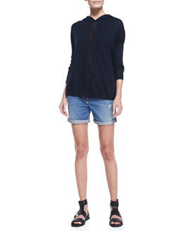 Vince Sheer-Stripe Cotton Slub Hoodie & Distressed Denim Cuffed Boyfriend Shorts