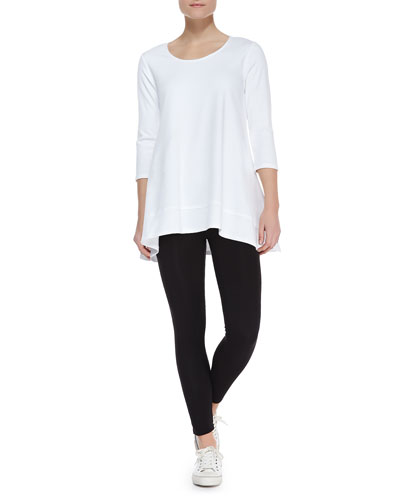Joan Vass Interlock-Knit High-Low Tunic & Stretch-Knit Cropped Leggings