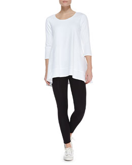 Joan Vass Interlock-Knit High-Low Tunic & Stretch-Knit Cropped Leggings, Petite