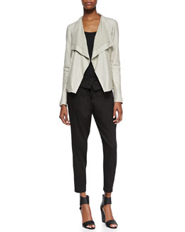 Vince Drape-Front Open Leather Jacket, Favorite Tank & Fold-Waist Relaxed Knit Pants