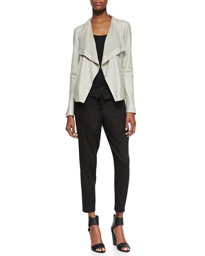 Drape-Front Open Leather Jacket, Favorite Tank & Fold-Waist Relaxed Knit Pants