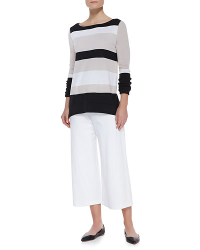 Joan Vass Bold-Striped Knit Easy Tunic & Knit Cropped Wide-Leg Pants, Petite