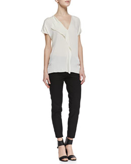 Vince Cascade-Panel Stretch-Silk Blouse & Slim Cropped Zipper-Cuff Pants