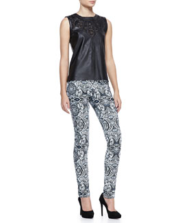 Valentina Shah Valentina Leather Cutout Top & Marta Printed-Leather Pants