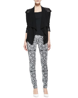 Valentina Shah Carina Crepe Leather-Shoulder Jacket & Marta Printed-Leather Pants