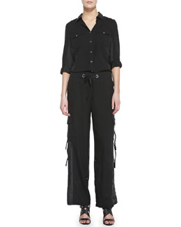 Go Silk Silk Safari Shirt & Cargo Pants, Petite