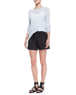 Vince Striped Long-Sleeve Slub Tee & Drawstring-Waist Relaxed Boxing Shorts