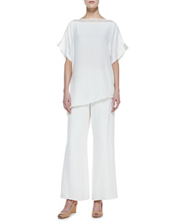 Go Silk Silk Boat-Neck Easy Tunic & Full-Leg Pants, Petite