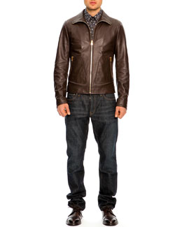 Dolce & Gabbana Leather Bomber Jacket, Button-Down Floral-Print Shirt & 16 Classic Denim Jeans