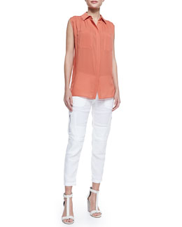 Vince Gathered-Shoulder Sleeveless Blouse & Cropped Linen-Blend Cargo Pants