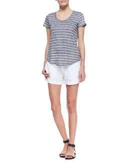 Vince Striped Short-Sleeve Slub Tee & Tab-Side Cuffed Linen Shorts