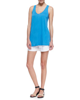 Vince Scoop-Neck Sleeveless Tank & Tab-Side Cuffed Linen Shorts