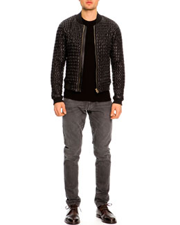 Dolce & Gabbana Ruched Nylon Bomber Jacket, Ribbed Crewneck Sweater & Faded & Distressed Jeans
