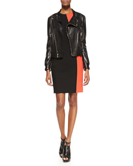 DKNY Lambskin Leather Moto Jacket & Sleeveless Colorblock Sheath Dress